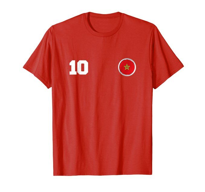 af7b06ded Morocco Soccer T-Shirt Number 10 Jersey Style Double Side | World ...