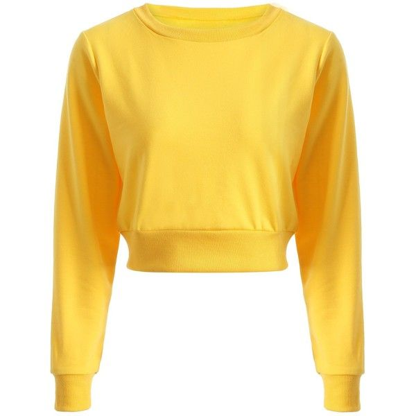Long Sleeve Sports Casual Cropped Sweatshirt ($12) ❤ liked on Polyvore featuring tops, hoodies, sweatshirts, long sleeve sweatshirts, sports tops, long sleeve sports top, long sleeve crop top and sport top