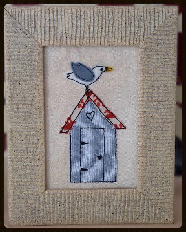 Beach Hut and Seagull, British Summer. Textile Art.  £25.00