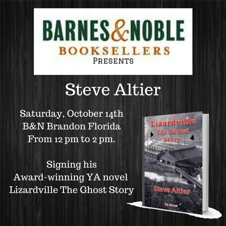 Join us for Friends of the Library- Meet the Author Day! Meet local authors, purchase a personalized copy, and help the local Friends of the Library chapter.  Barnes & Noble Brandon FL. 122 Brandon Town Center. Saturday October 14th 12:00 pm to 2:00 pm  #Authorevents #Tampaevents #Barnes&Noble #Bookevents #Lovetoread #Readindie #authorsupport #authorslife #Stevealtierbooks #Lizardville #Halloween2017