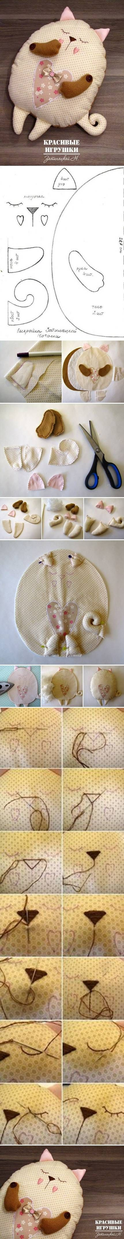 DIY Soft Sew Fabric Cat |  this would be cute with a big pocket on the back for a little girl to tuck her pajama's inside in the mornings when she changes into her play clothes.