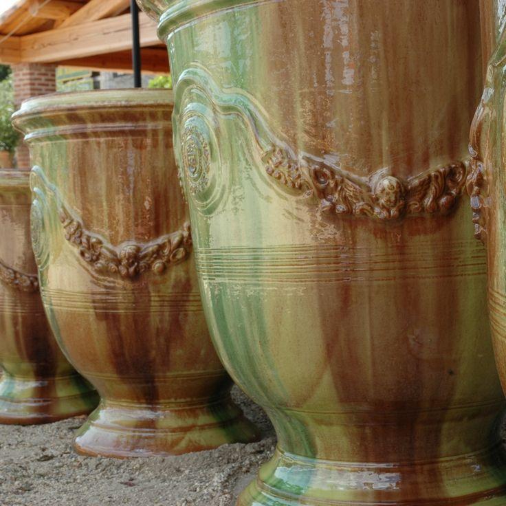 Poterie Le Chêne Vert - Vase d'Anduze tradition flammé, vases d'Anduze émaillés et patinés antica