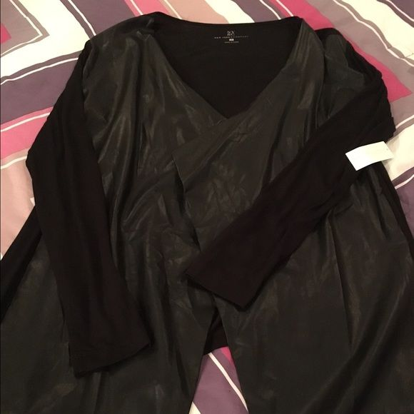 Top Black top with leather sleeves.. Open front will look amazing with slack or jeans New York & Company Tops