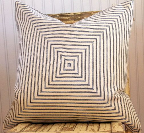 Blue Ticking Pillow Cover 18 x 18 Mitered squares. Beautifully done Suttonplacedesigns via Etsy.