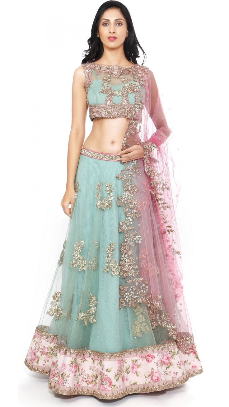 Anushree Reddy's Sea Green and Pink Lengha Set - JIVA