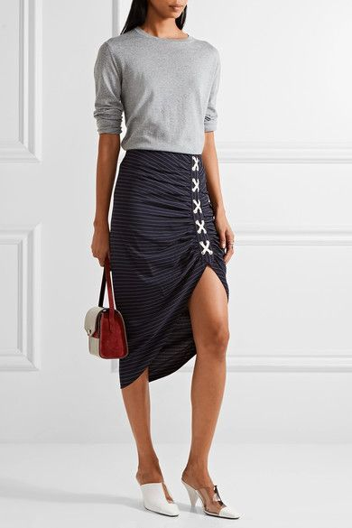 Veronica Beard - Marlow Ruched Striped Crepe Skirt - Midnight blue