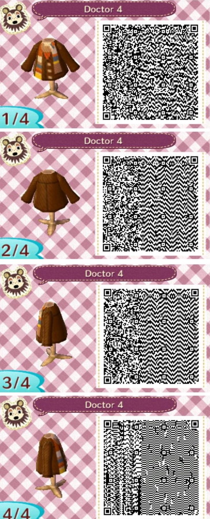 Leather jacket qr code new leaf - The 4th Doctor Who Animal Crossing New Leaf Qr Codes