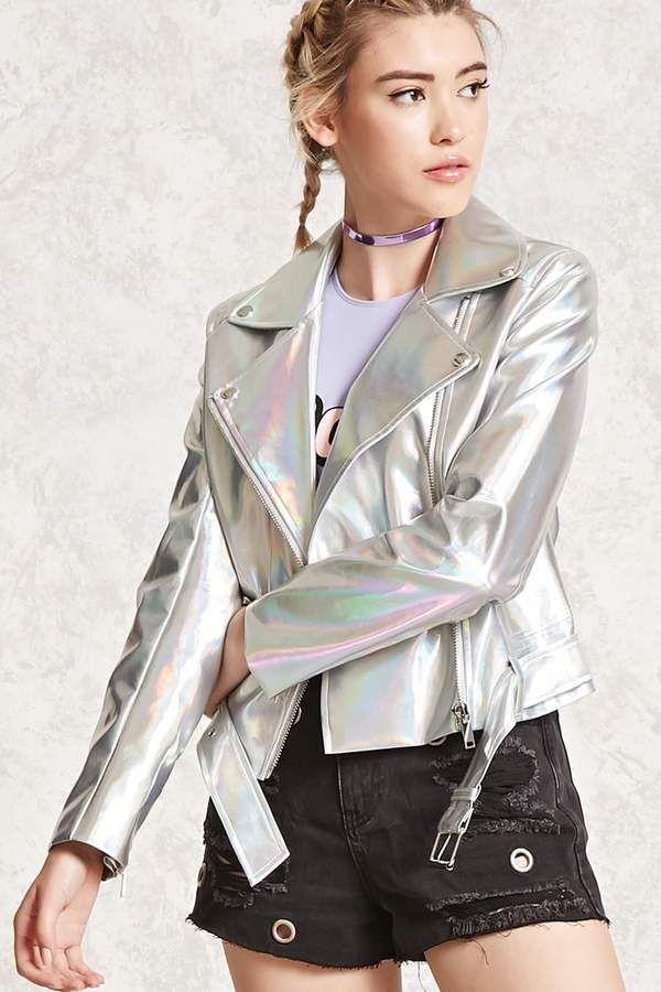 974307d90ebd Forever 21 Iridescent Faux Leather Jacket Holographic Jacket