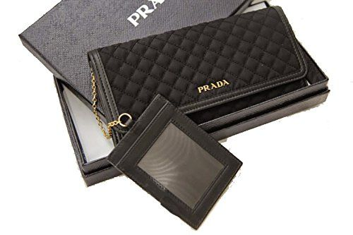 $480.00  Prada Tessuto Quilted Nylon Continental Flap Wallet 1M1132, Black