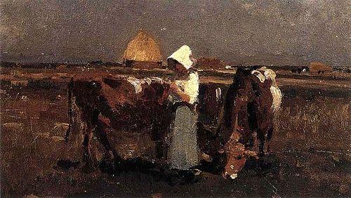 Grigorescu, Nicolae (1838-1907) - Peasant Watching her Cows at Barbizon