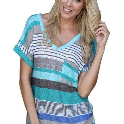 Summer Women Stripe Loose Shirt Short-Sleeved V-neck T-Shirt Casual Shirt Colorful Patchwork Tops