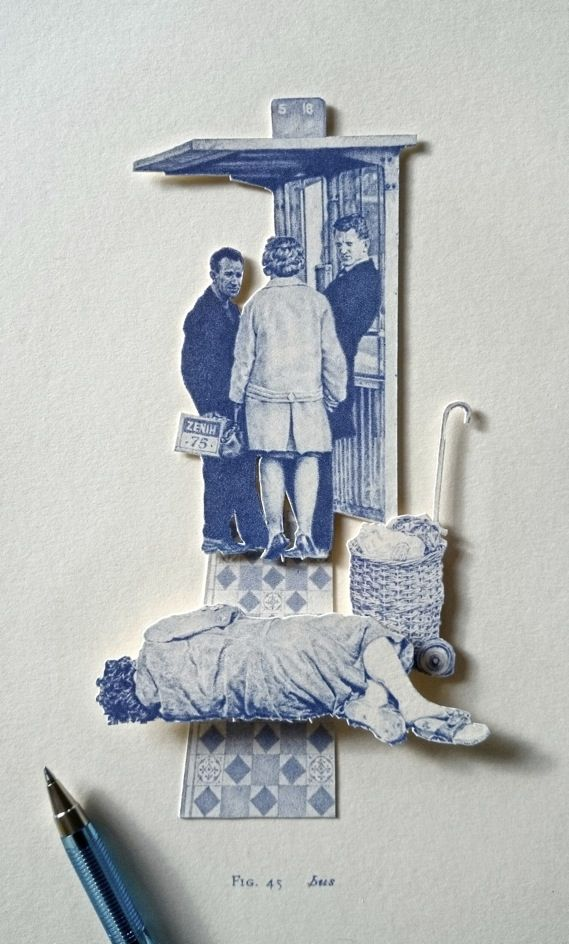 Working in blue biro, Greg Gilbert's miniatures draw on city council photo archives and render elements from different times in exquisite detail.