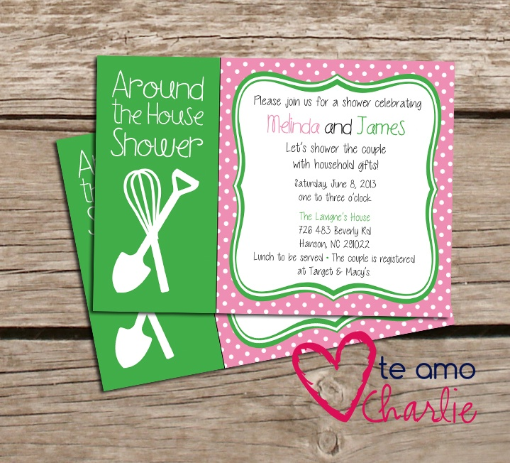 Around the house couples shower invitation housewarming for Housewarming shower ideas