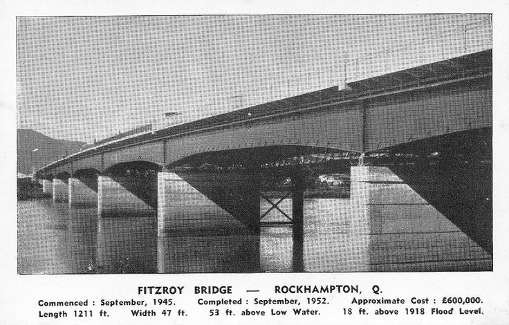1952. Rockhampton. Postcard advertising the opening of the new Fitzroy River Bridge | by Love in a little black diary