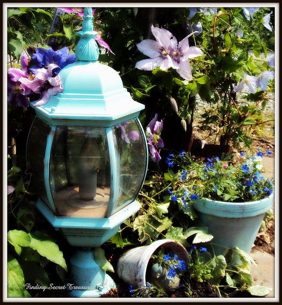 decorating my yard budget friendly way to bring color to your landscape use your, flowers, gardening, repurposing upcycling, Old post Lamp repurposed