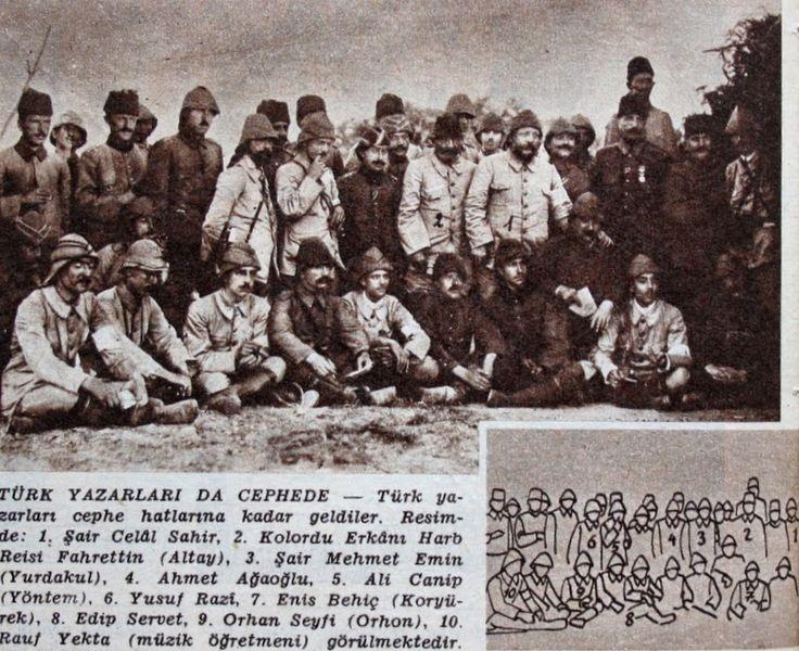 TÜRK YAZARLARI DA CEPHEDE Türk yazarları Çanakkale cephe hatlarına kadar geldiler. Resimde : 1. Şair Celal Sahir 2. Kolordu erkanı harb reisi Fahrettin Altay, 3. Şair Mehmet Emin Yurdakul, 4. Ahmet Ağaoğlu, 5. Ali Canip Yöntem, 6. Yusuf Razi, 7. Enis Behiç Koryürek, 8. Edip Servet, 9. Orhan Seyfi Orhon, 10. Rauf Yekta (Müzik öğretmeni) görülmektedir... Bu fotoğrafta Mahmut Yesari'nin olabilme olasılığı olduğu için onuda eklemek isteriz.