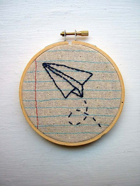 embroidery hoop paper airplane wall art | Flickr - Photo Sharing!