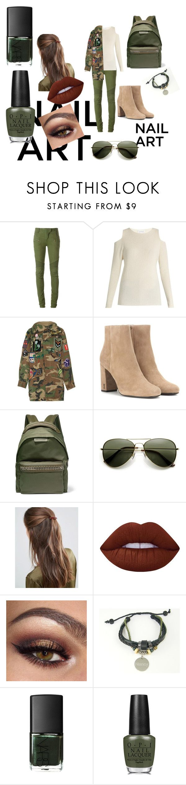 """""""Green With Envy"""" by ana-souza-2 ❤ liked on Polyvore featuring Balmain, Velvet by Graham & Spencer, Marc Jacobs, Yves Saint Laurent, STELLA McCARTNEY, DesignB London, Lime Crime, Liberty and OPI"""