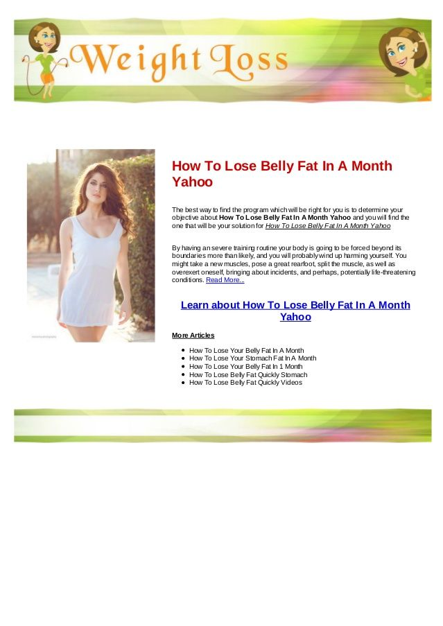 lose belly fat in a month yahoo answers