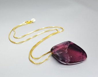 Pink Tourmaline, Rubellite, rock pendant with 14k gold chain - gift idea - holiday season by gemorydesign. Explore more products on http://gemorydesign.etsy.com