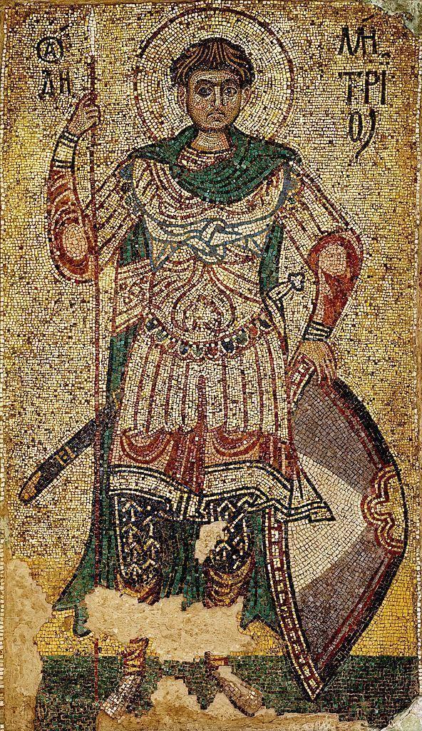Мозаика (вероятно, византийская) Дмитрия Солунского из Михайловского монастыря (Киев). Около 1113 года неизвестен, Public Domain