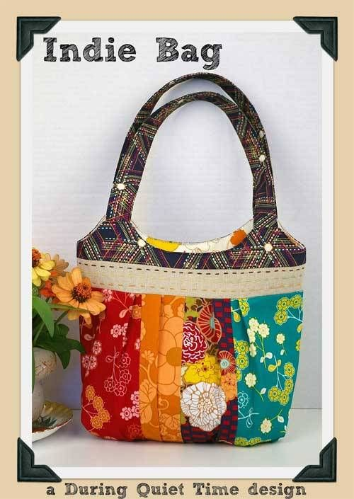 This bag is fun and easy to make and looks fresh made up in bright coordinating fabrics. The bag features a natural linen band with hand stitches, a shaped