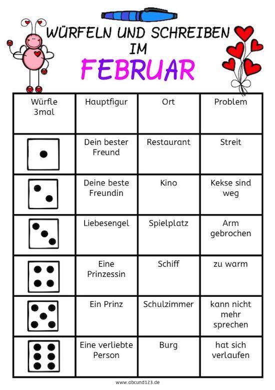 Würfeln und schreiben im Februar #schreiben #kreativ #DAF #DAZ