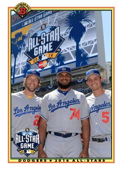 Clayton Kershaw, Kenley Jansen and Corey Seager    **  Dodgers Blue Heaven: More All-Star Game Fantasy Dodgers Baseball Cards