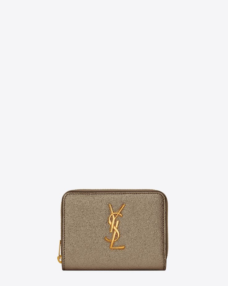 Saint Laurent MONOGRAM SAINT LAURENT Compact Zip Around Wallet In Grey Grained Metallic Leather | YSL.com
