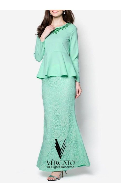 Baju Kurung Moden Peplum with Crystals Embellishments - VERCATO Davia in Mint GreenShop Baju Kurung Moden featuring shiny crystals embellishment