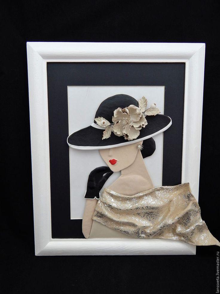 Купить Картина из кожи Дама в шляпе. Объемная картина из кожи. - черный, белый, картина в подарок