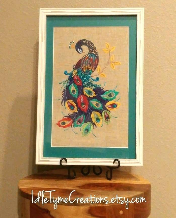 Peacock Wall Art Framed Art Embroidered Wall Hanging Home Etsy Embroidery Art Peacock Wall Art Framed Embroidery