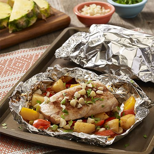 Grilled Hawaiian Mahi Mahi Foil Packets : A foil packet recipe with a fusion of Hawaiian and Latin flavors of chipotle, jalapeno, pineapple and mango