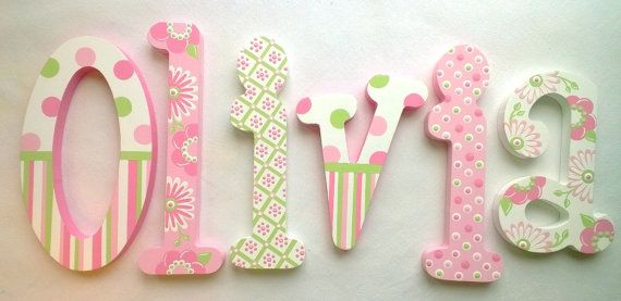 Custom Painted Wooden Nursery Letters featuring por PoshDots