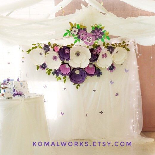 Shine bright with these #trendiest #ultravoilet #paperflower #decor with glittering centres for your #wedding, special events & #home.  Order @KomalWorks.etsy.com & avail FREE WORLDWIDE SHIPPING FOR A LIMITED TIME!! #komalworks #etsy #paperdecor
