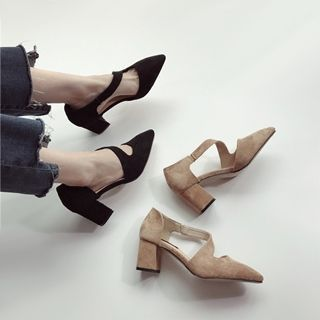 Buy Linda Lane Faux-Suede Chunky-Heel Sandals at YesStyle.com! Quality products at remarkable prices. FREE WORLDWIDE SHIPPING on orders over US$ 35.