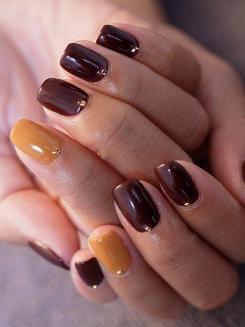 ☆秋ネイル、続々と...。ボルドー×マスタードカラー☆ |パリのネイルサロン Bijoux nails Paris