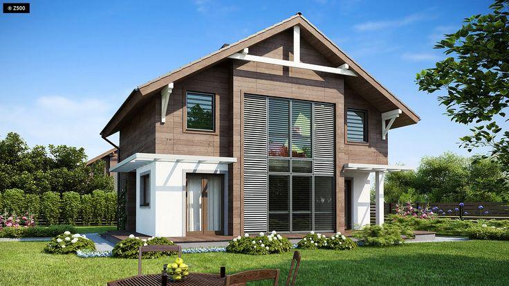 Projekt domu Z47. Piętrowy dom o jasnym, przestronnym wnętrzu z przeszkleniem przez 2 kondygnacje.