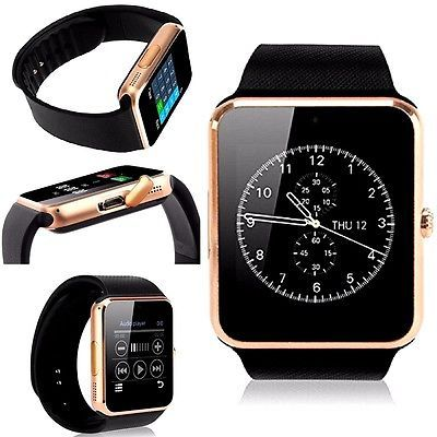 ﹩27.72. GOLD Smart Watch Bluetooth For Samsung iPhone HTC LG Ios Android Wrist Phone New    Series - New-Release-Smart-Watch, Band Material - Silicone/Rubber, Case Material - Aluminum, Band Color - Black, Operating System - IOS , Android, Features - Answer Call, Compatible Operating System - Android, UPC - 855906004818