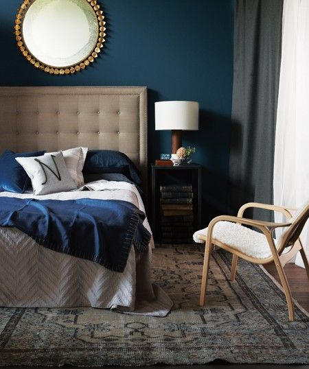 I have this color in my master bedroom. Furniture & bedding ,etc.....all white. Makes for a mid century modern vibe. Great color to go to sleep in. { rich teal blue walls. would you bring this color into your bedroom?}
