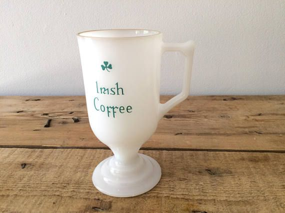 Milkglass IRISH COFFEE Mugs with Gold-Rim Stemmed Coffee Cups Midcentury Barware Bachelor / Bachelorette Shower Party St Patrick's Day by VintageFlicker