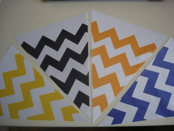 Fabric Bunting Chevron Yellow Black Orange Blue by customflag, $19.00