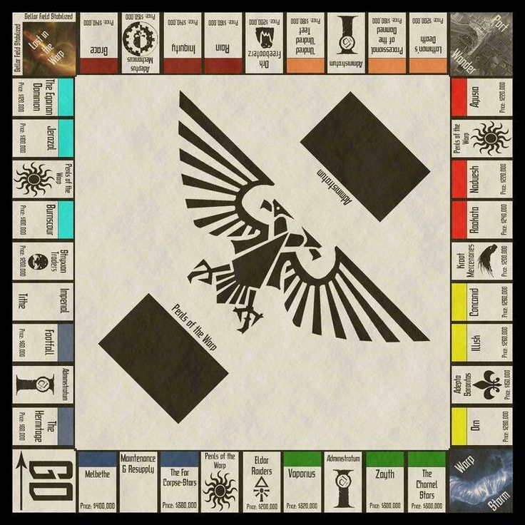 Warhammer 40k Monopoly. I wasn't too print this off and use it as scenery. Or an objective.