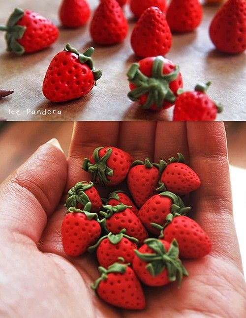 DIY Polymer Clay Strawberry Tutorial from Ice Pandora here. Bottom Photo: Unglazed strawberries by Ice Pandora. Reminder: Anything that touches polymer clay can never be used on or for food again. For my most popular Pinterest pin go here: strawberry painted rocks go here and for polymer clay DIYs go here: truebluemeandyou.tumblr.com/tagged/polymer-clay