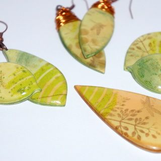 A lovely way to take your clay and transform it with stencils and inks etc. before cutting your pieces and baking.