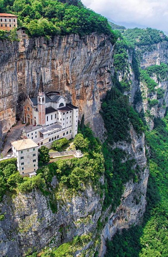 Madonna della Corona Sanctuary near Verona  ✈✈✈ Here is your chance to win a Free Roundtrip Ticket to Verona, Italy from anywhere in the world **GIVEAWAY** ✈✈✈ https://thedecisionmoment.com/free-roundtrip-tickets-to-europe-italy-verona/