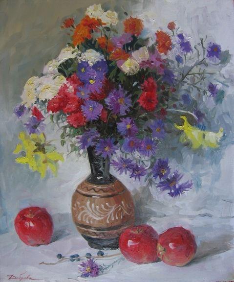 Натюрморты, цветы - живопись,картины масло на холсте.Киев.Художница Доброва Анна