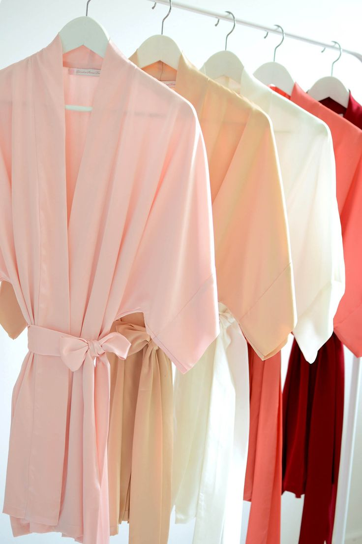 Samantha bridal silk kimono robe bridesmaids robes in Strawberries & cream colors - Girlwithaseriousdream