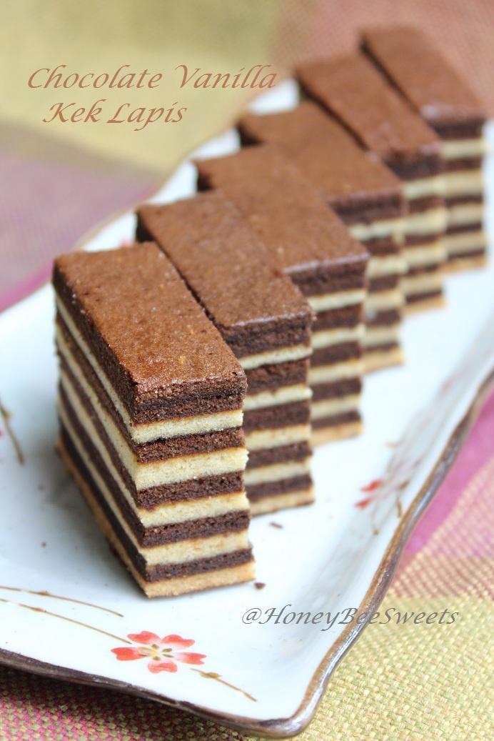 Kek Lapis Chocolate Vanilla (Chocolate Vanilla Layer Cake)