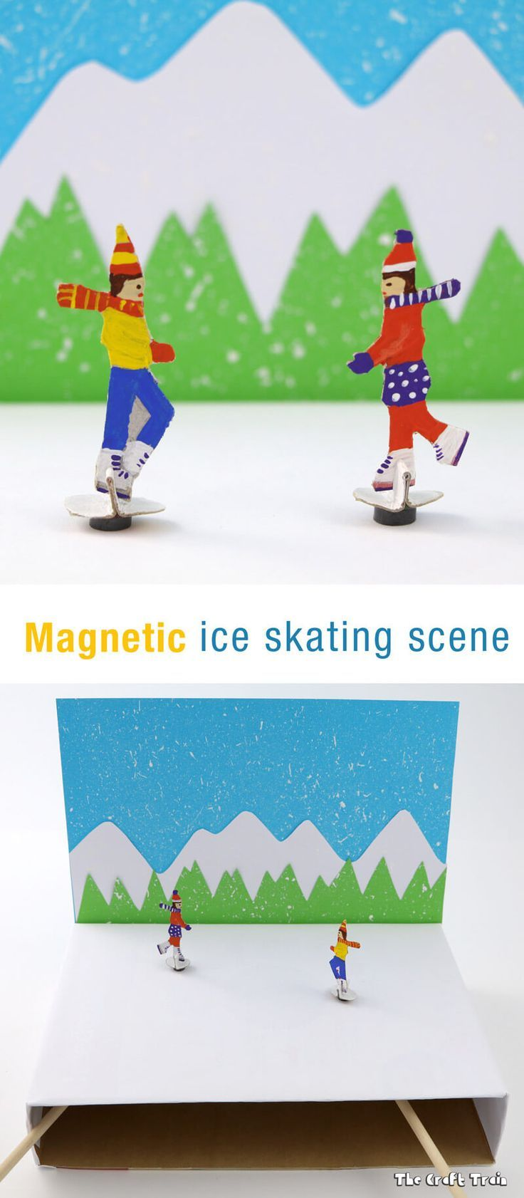 Magnetic ice skating craft for kids! A hands-on craft for preschoolers and school aged kids!